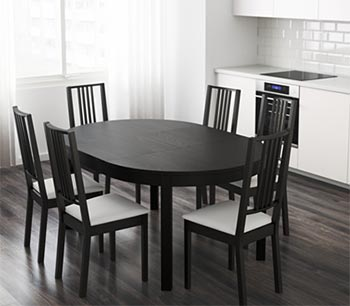 IKEA round extending dining table