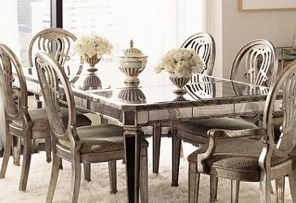 mirrored extending dining table